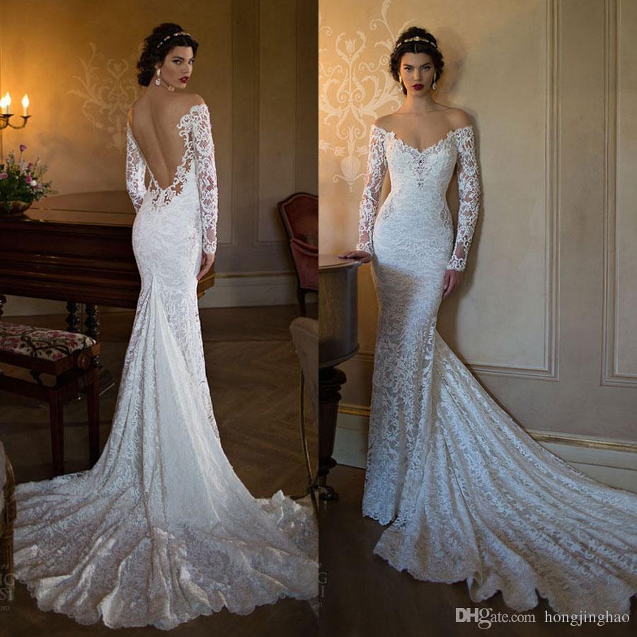 db1c51f6a35f Vintage 2019 Lace Mermaid Wedding Dresses Off Shoulder Long Sleeve Applique  Chapel Train Open Back Bridal Party Gowns Strapless Mermaid Wedding Dresses  ...