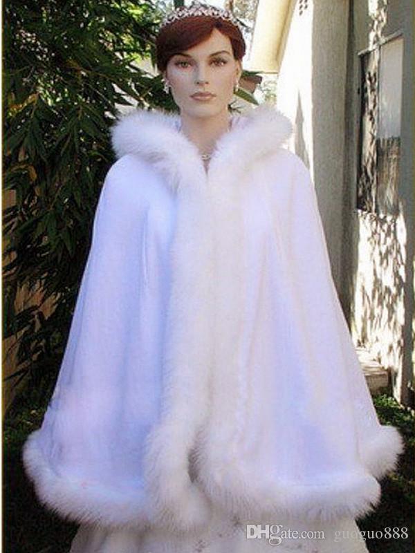 Warm Bridal Cape Wraps Custom Made Winter Wedding Cloak Cape Hooded with Fur Trim Short Bridal Wraps Winter Jacket Coat for Bride