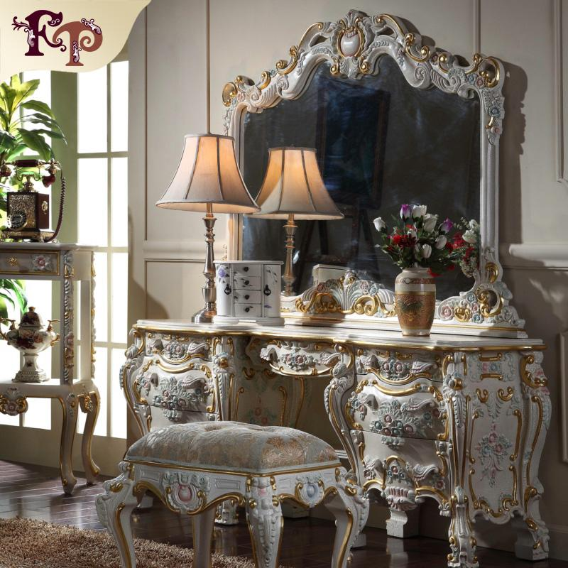 Baroque classic furniture -French royalty classic bedroom furniture - cracking paint dressing table and mirror
