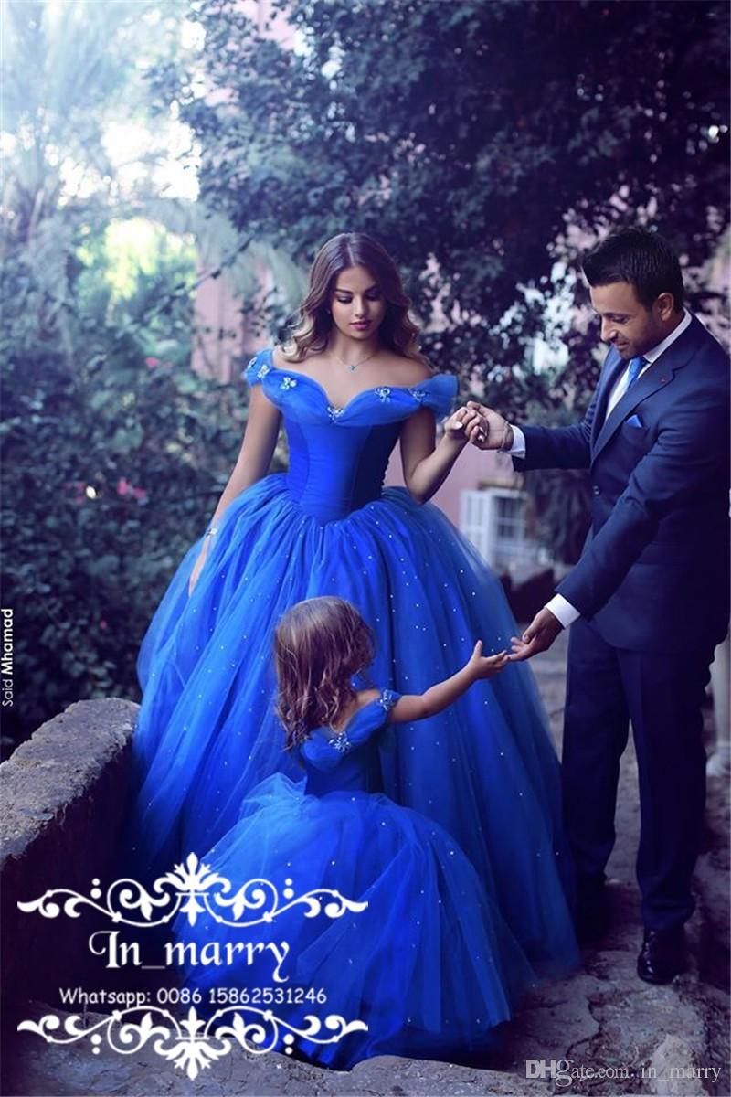 Royal Blue Cinderella Mother And Daughter Prom Dresses 2017 Ball ...