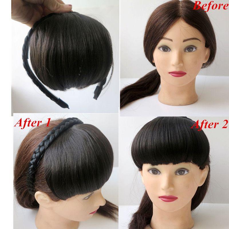Synthetic Hair Bangs Hair Fringe With Hair Band Darkest Brown