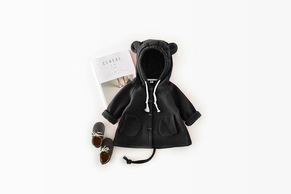INS Cartoon big ear cotton fleece long paragraph children sweater coat baby kids cute outwear poncho for little girls boys infant toddler
