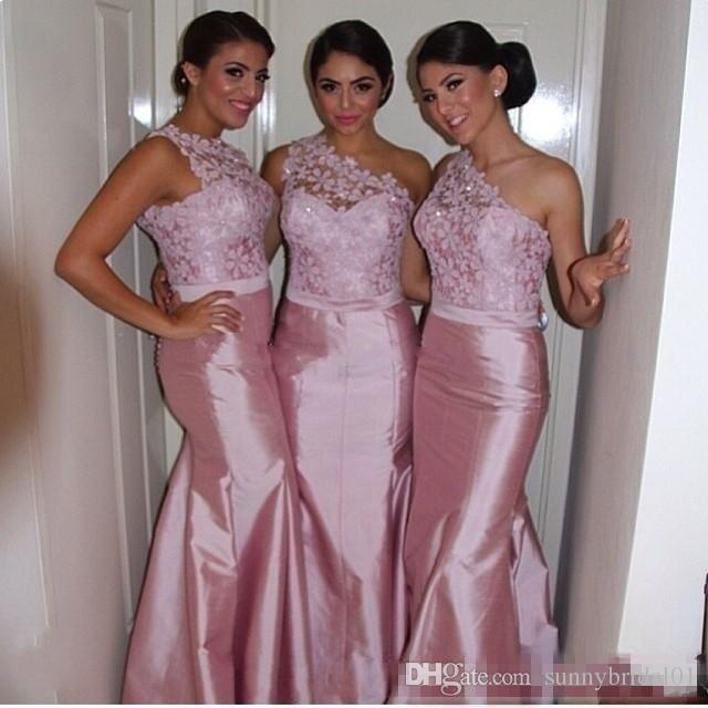 Sexy Pink Lace Mermaid Bridesmaid Dresses One Shoulder Taffeta Backless 2017 Long Custom Made Formal Evening Prom Gowns Maid of Honor Cheap