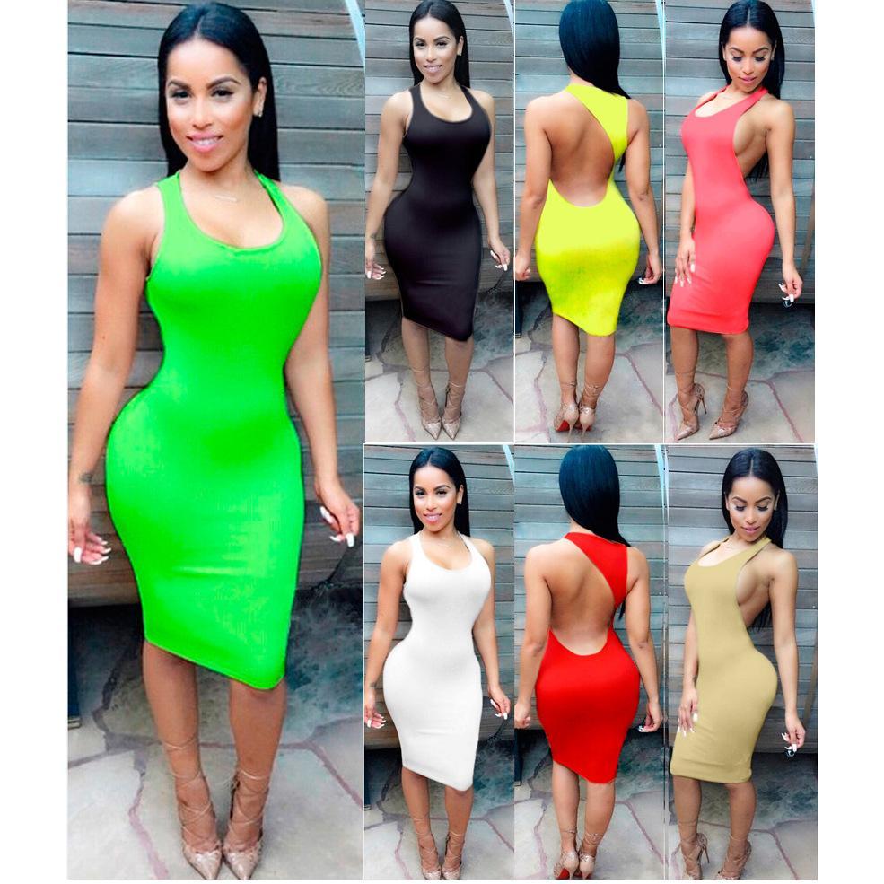 in stock 70e83 230ce Abiti estivi donna 2016 Abito estivo spiaggia Abiti sexy mini abito senza  maniche back night Nigh Abbigliamento Plus Size Abbigliamento donna S- ...