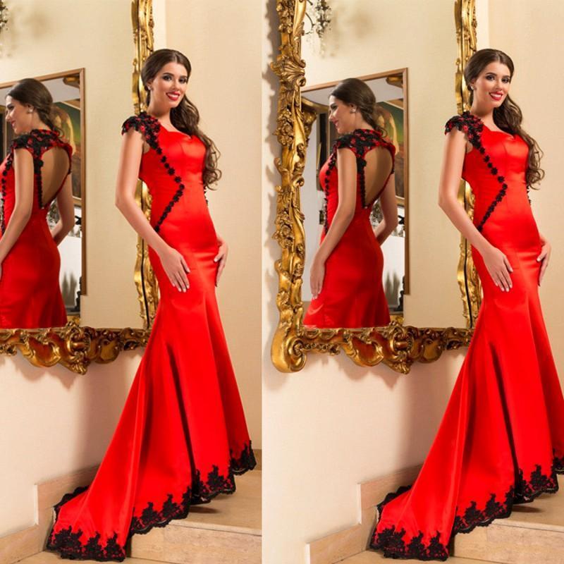 Laço preto Sereia Vermelha 2016 Vestidos de Noite com as costas oco Da Varredura do Trem Vestidos Custom Made Vestidos Formais Vestidos de Noite À Noite