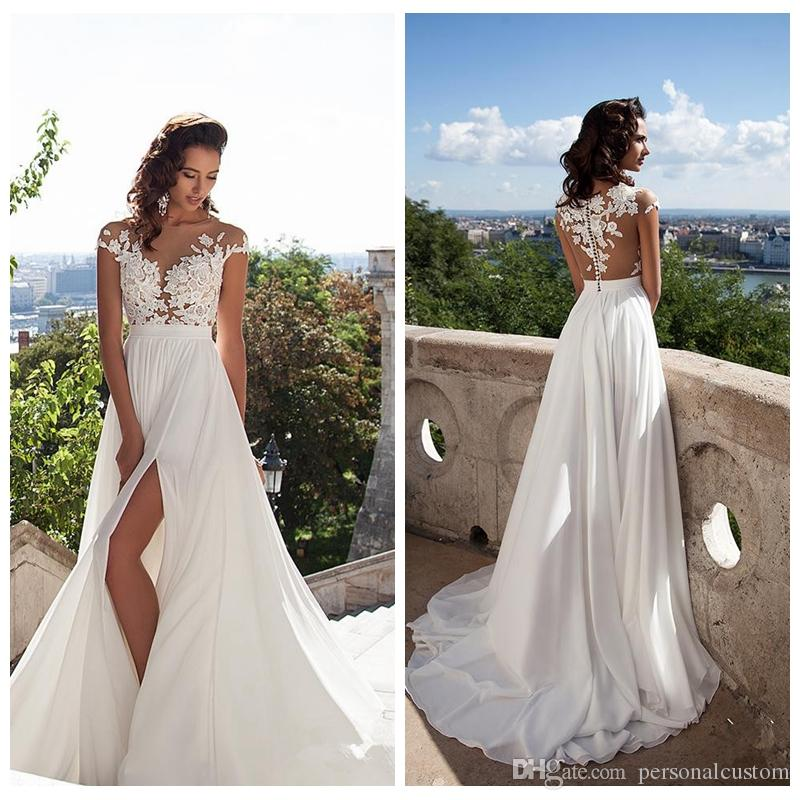 Suosikki 2017 High Low Short Front Long Back Beach Wedding: Discount 2017 Beautiful Thigh High Slits Front Chiffon