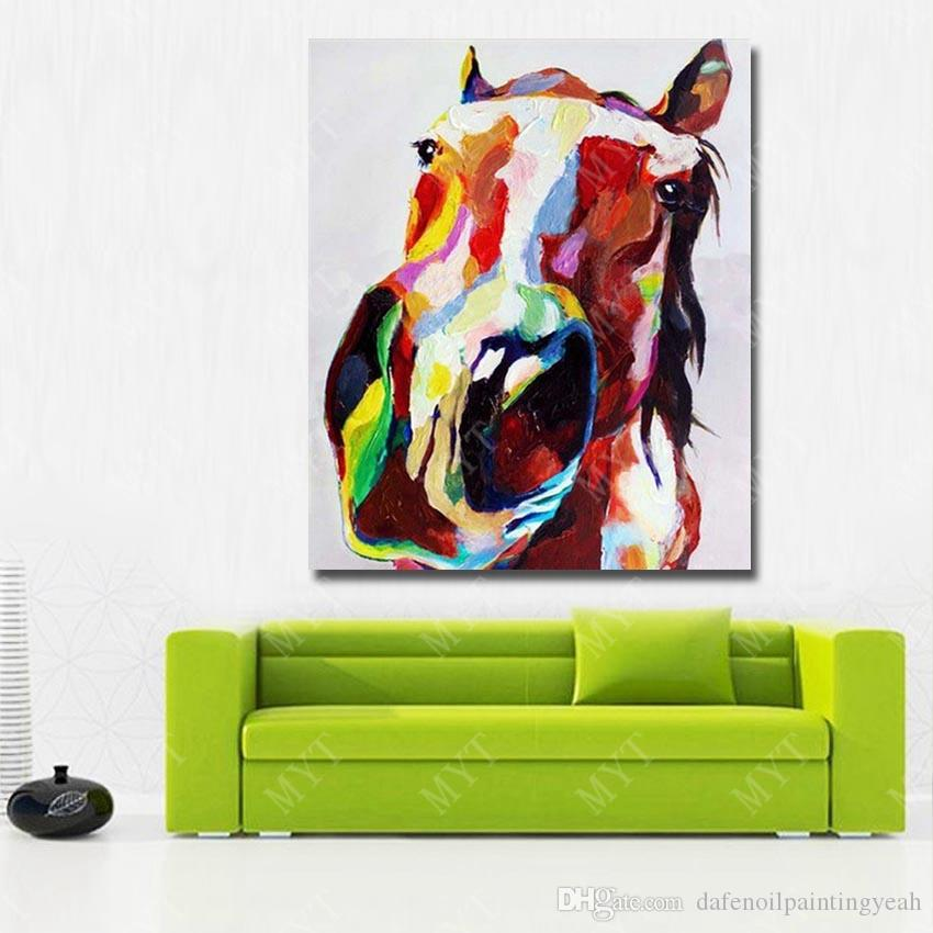 Abstract Horse Head Oil Painting for Home Decoration Hand Painted Animal Oil Painting on Canvas Wall Design