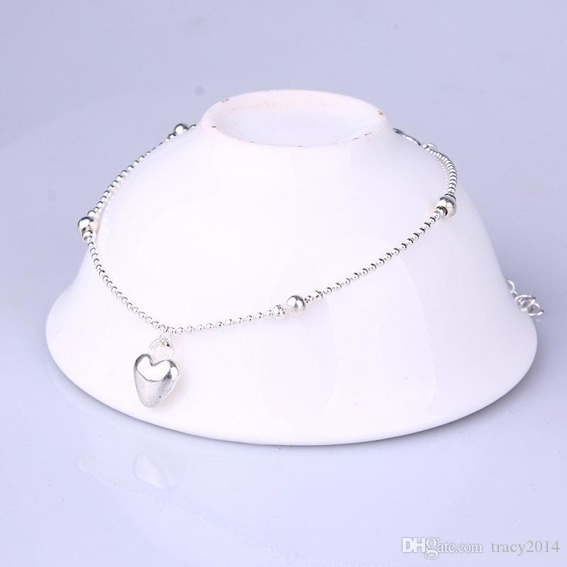 Belle coeur perle Anklets Femmes De Mode Bijoux 925 Sterling Argent Serpent Chaîne Bracelet De Haute Qualité Femelle Exquis Cheville À La Mode