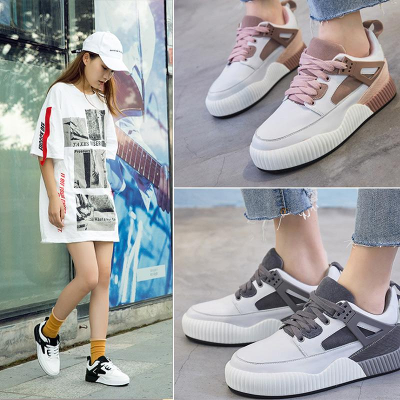 27486fbf880 White Leather Shoes New Shoes All-match Students Fall 2018 Muffin ...