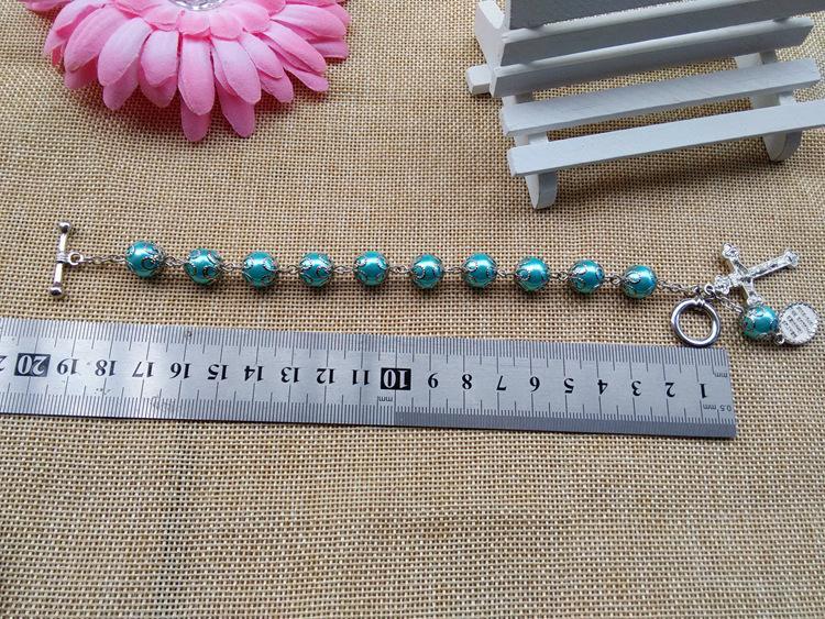 2016 neue Art und Weise katholischer Schmuck 10 mm Perlen Glas Rosenkranz Kreuz-Armband mit Cup Hot Großhandel