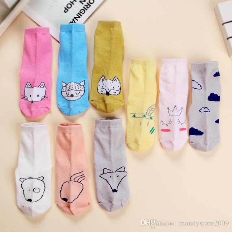 얇은 스타일 키즈 양말 만화 면화 베이비 양말 귀여운 고양이 폭스 패턴 발목 양말 / Color