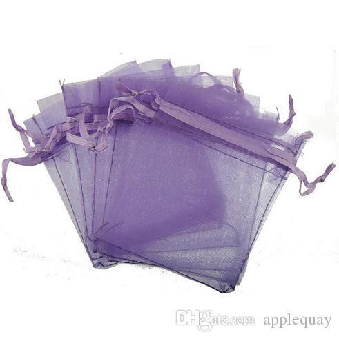 Pochettes d'affichage de bijoux Emballage Perles Artisanat Cadeau Bijoux Sacs Montrer Cordon Lucency Rectangle Organza Bonbons Noir Bleu 7 * 9cm