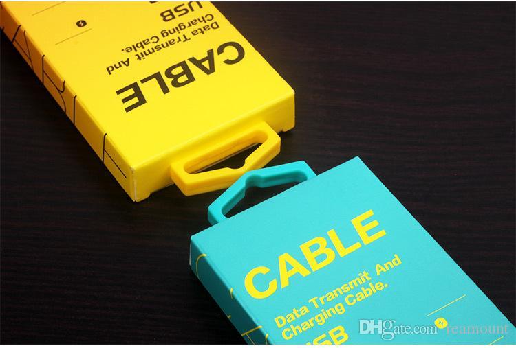 Pacchetto di vendita al dettaglio della carta del nuovo cavo la linea linea del caricatore d'imballaggio del cavo di 1-1.5m USB Trasporto libero del DHL