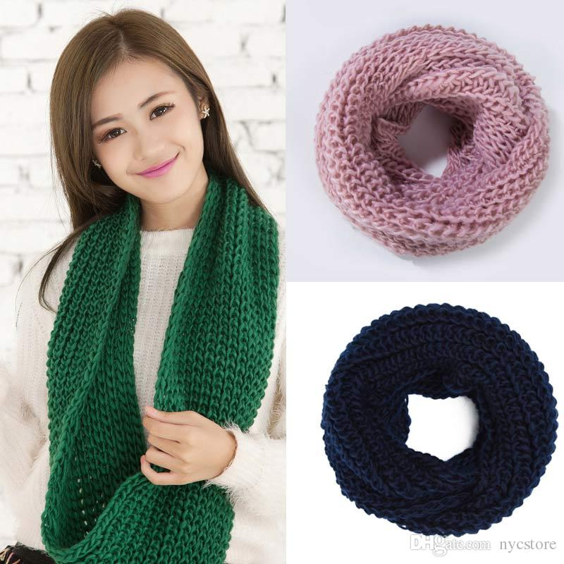 Women Winter Warm Infinity Single Cable Knit Cowl Neck Scarf Shawl