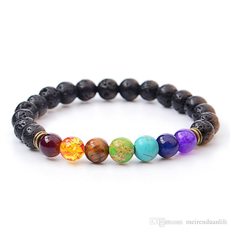 Hot Natural Stone Bracelet Strands Energy Volcanic Stone Colorful Beaded Bracelet Bangles For Women Men Wholesale