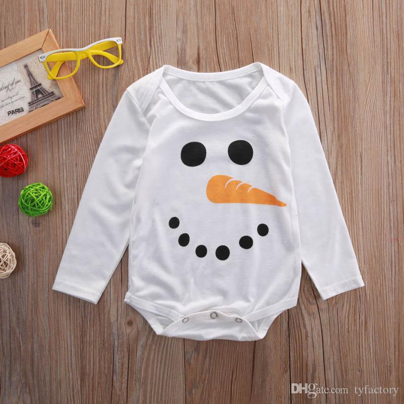 Newborn Infant Baby Boy Girls Christams Romper Fashion Snowman long sleeve Jumpsuit smile face carrot nose children Clothes cotton onesies