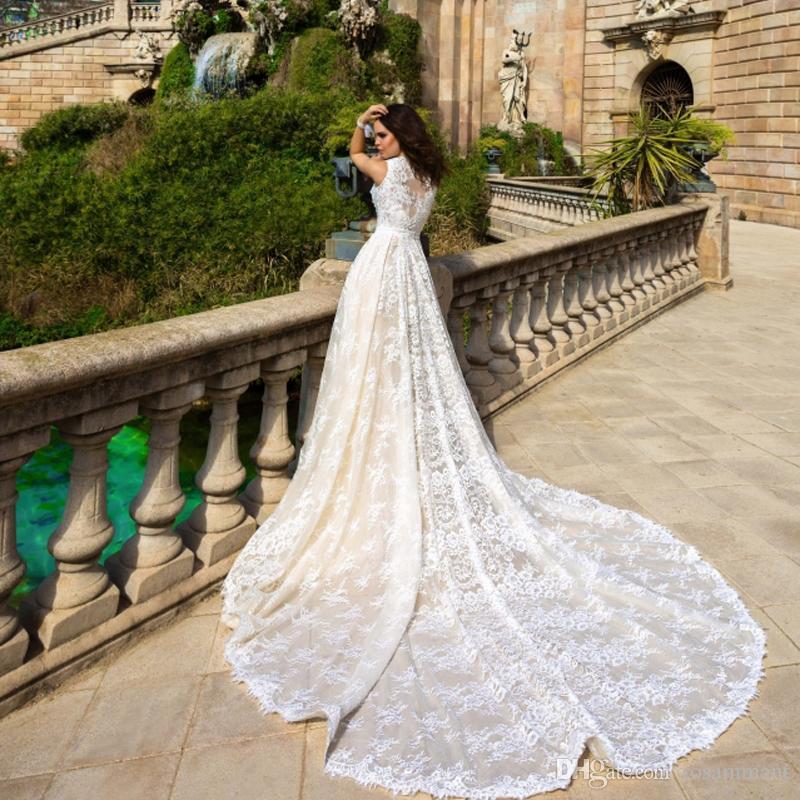 Robe De Mariee 2020 New Champagne Sereia vestidos de casamento com trem destacável vestidos de noiva Plus Size vestido de casamento