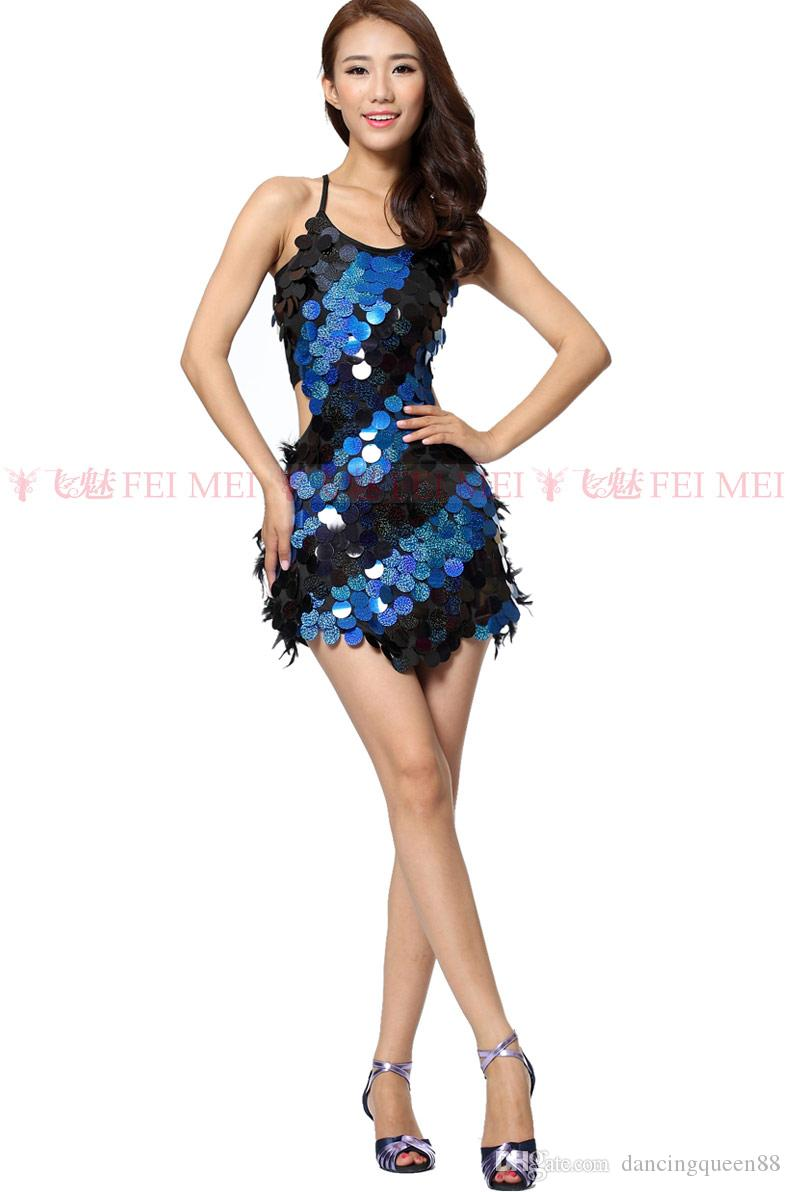 4931667771a96 2019 2018 Latin Dance Costumes Feathers Sexy Ballroom Dresses Free Size Red  Tango Dress Sequin Lady Dancewear Dance Dress Latin Costume For Women From  ...