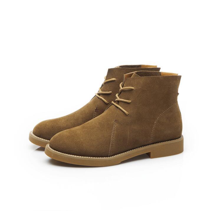 Compre Nuevas Mujeres Botas De Cuero Genuino Botines Planos De Estilo  Vintage De Piel De Vaca Suave Zapatos De Encaje Laterales Hasta Botines  Zapatos De ... 5eb4ee0145c8c