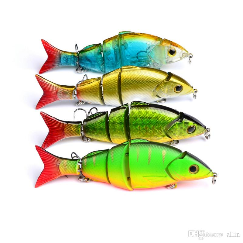 DHL shipping 12.8cm 22g Multi Jointed Bass Plastic Fishing Lures Swimbait Sink Hooks Tackle high quality fishing lures