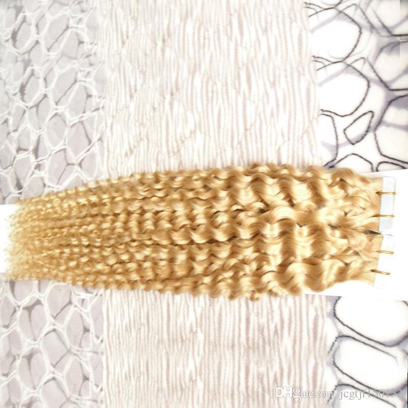 #613 Bleach Blonde Brazilian Virgin Hair Kinky Curly Skin Weft Tape Hair Extensions 100g Tape In Human Hair Extensions