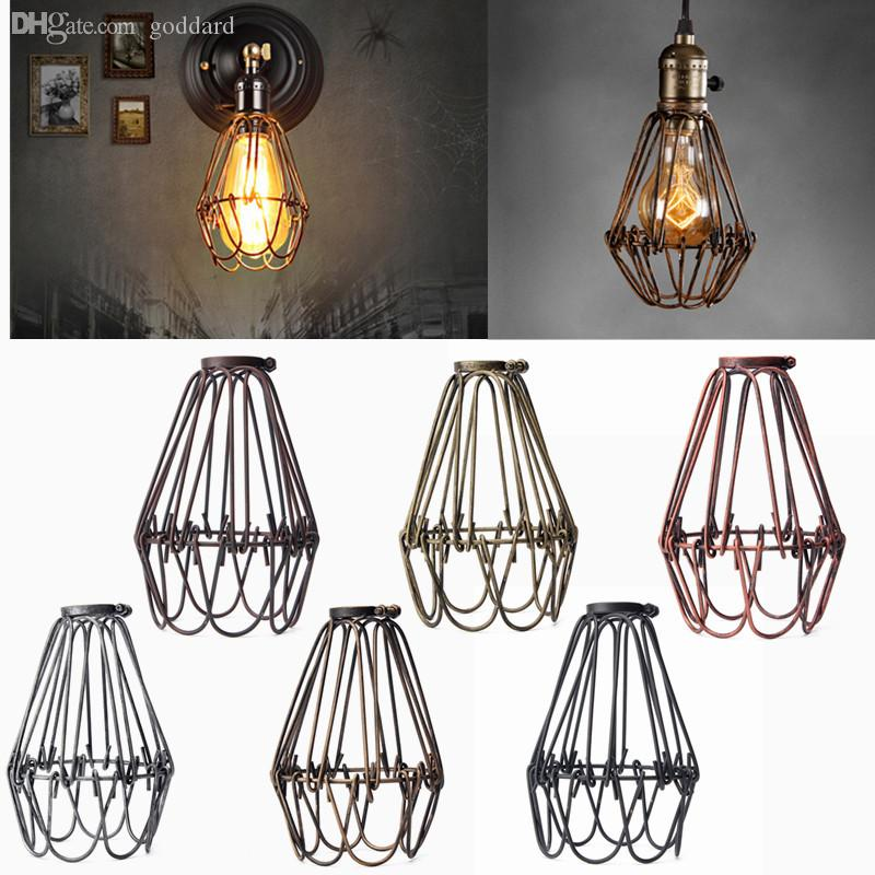 2018 wholesale retro vintage industrial lamp covers pendant trouble 2018 wholesale retro vintage industrial lamp covers pendant trouble light bulb guard wire cage ceiling fitting hanging bars cafe lamp shade from goddard greentooth Choice Image