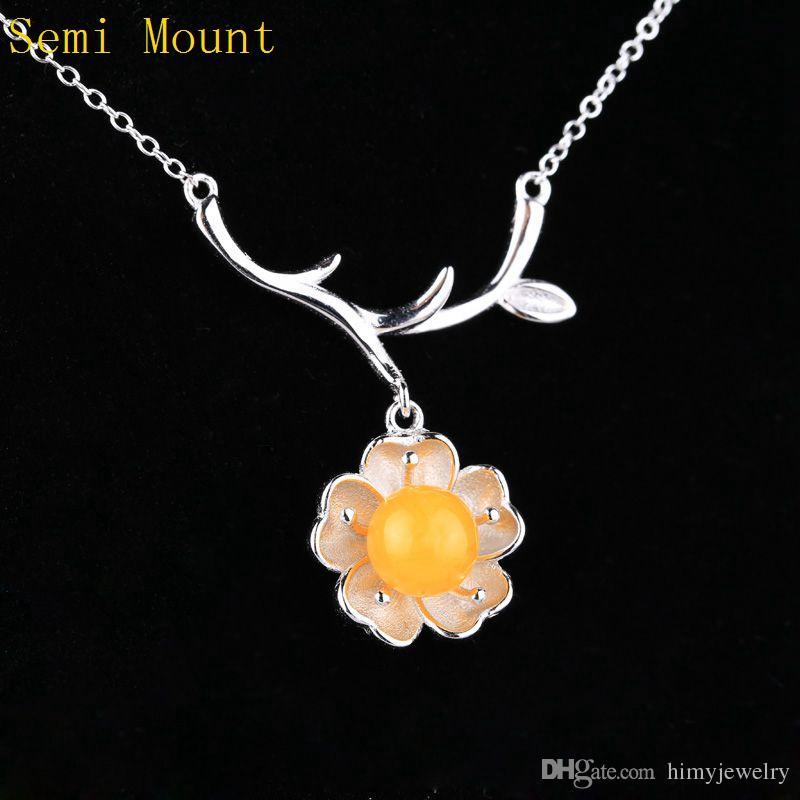 Real Sterling Silver 925 Plated White Gold Flower Kobiety Wisiorek Naszyjnik Semi Mount for Pearl lub Round Bead 7-10mm Fine Jewelry Ustawienie