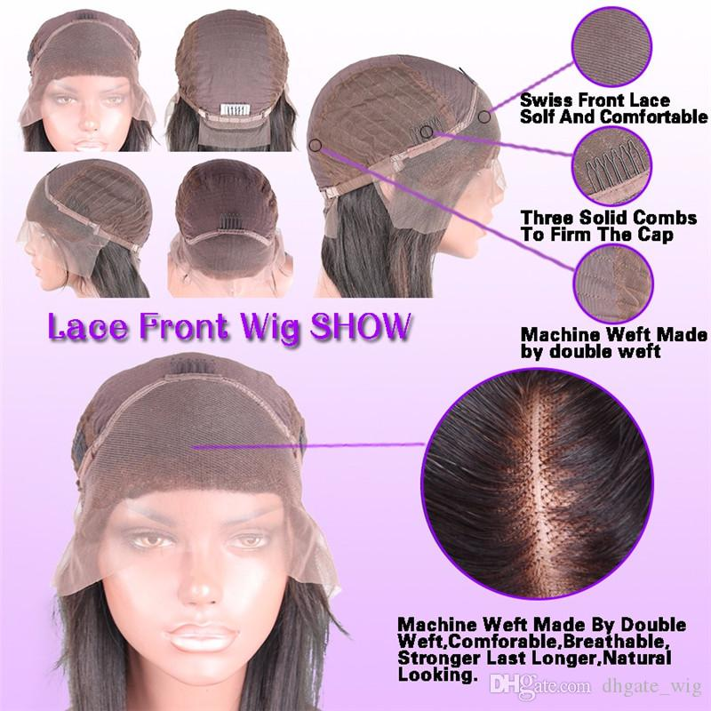Brazilian Human Hair Full Lace Wigs With Bangs Long Body Wave Unprocessed Lace Front Wigs With Bleached Knots Side Part