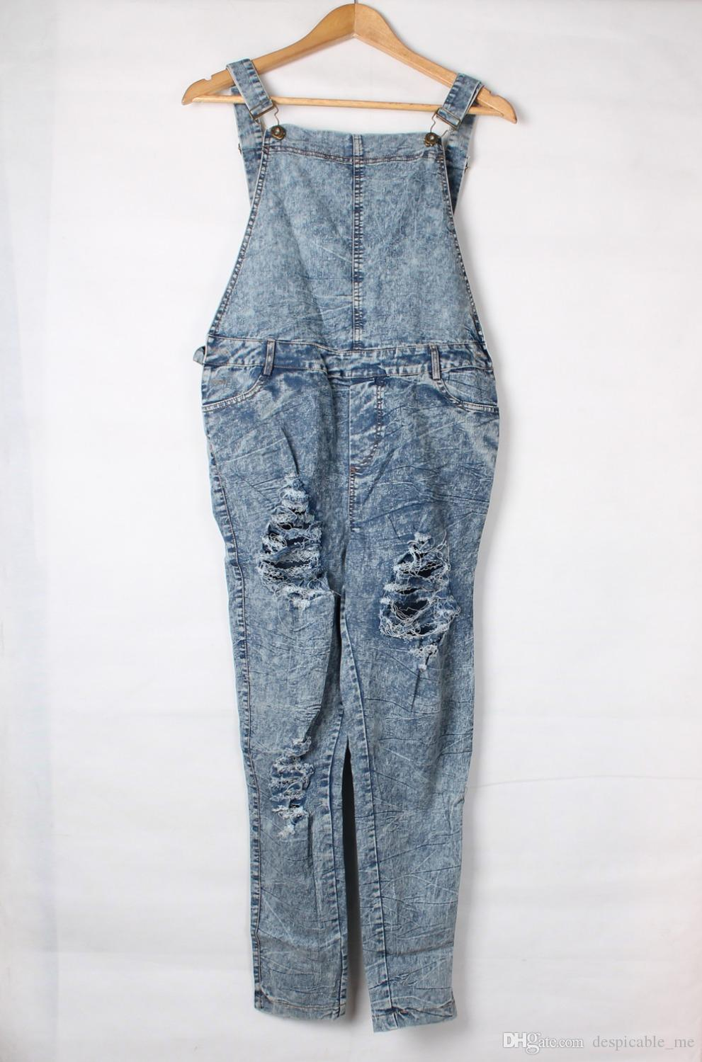 Bodysuit 2016 Macacao Feminino Longo Stone Wash Denim Destroyed Fitted Overall Casual Summer Jeans Jumpsuit Women