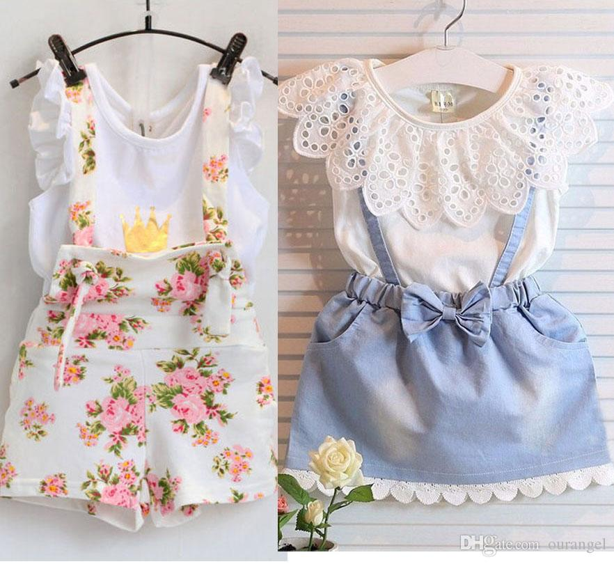 2016 Summer Kids Suit Girl Dress Lace White T Shirts Baby Denim Skirt Kid Dress Suits Child Floral Print suspender trousers