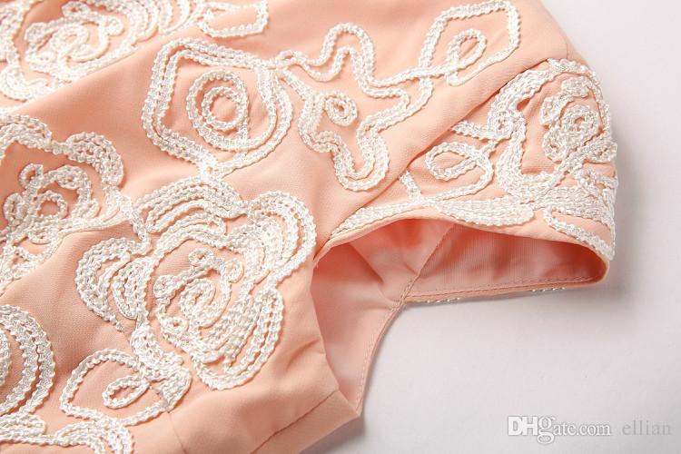 Вышивка Женщины Платье С Коротким Рукавом Платья 0415340