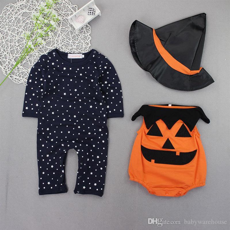Dziecko Halloween Ubrania Zestawy Dziecko Pajacyki + Kamizelka Dyniowa + Kapelusz 3 SZTUK Noworodka Niemowlę Kids Kombinezon Maluch Dla Baby Stroje Chłopcy Ubrania