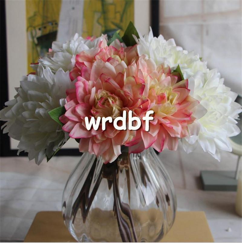 "Silk Dahlia Flower Bouquet 27cm/10.63"" Length Artificial Flowers Dahlias Peony for Wedding Bridal Bouquets Available"