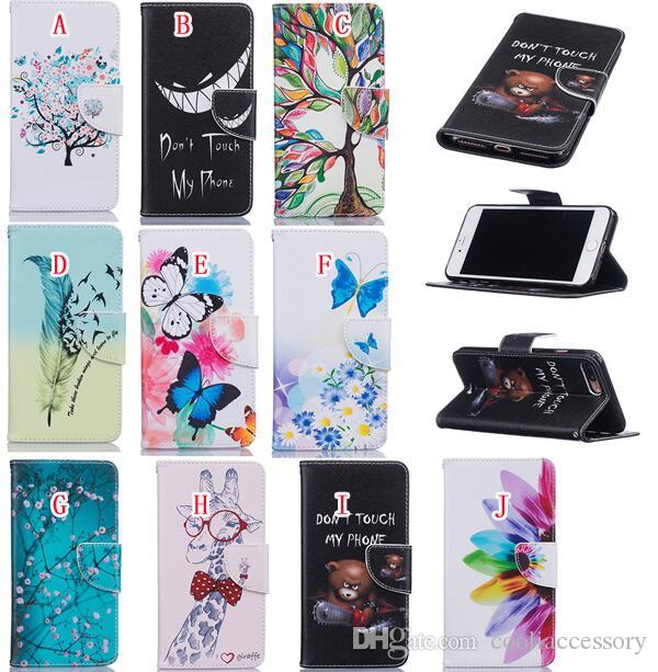 Cartoon Wallet Leather Pouch Case For Iphone 7 Plus 7G 7PLUS Huawei Mate 8 Honor 5A Y3 Y5 II Bear Tree Butterfly Flower Stand Card TPU Cover