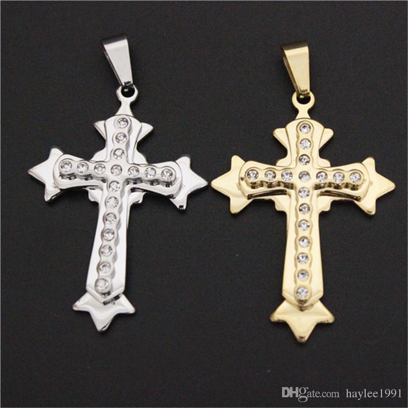 3 teile / los Neueste Nicht-verblassen Saubere Kristall Kreuz Anhänger Edelstahl Schmuck Persönlichen Design Jesus Kreuz Anhänger