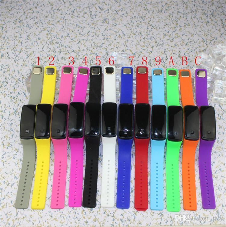 2016 Спорт светодиодные часы конфеты желе мужчины женщины силиконовая резина сенсорный экран цифровые водонепроницаемые часы браслет зеркало наручные часы DHL