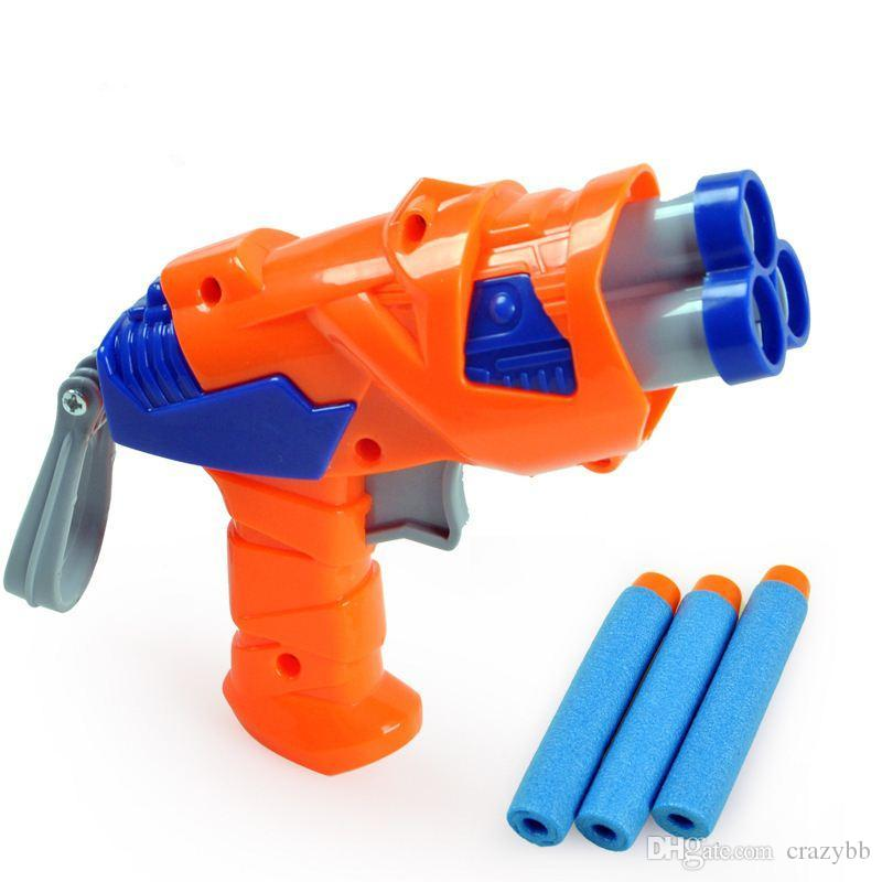 1pcs plastic nerf guns toy +3 nerf Foam bullets Imitation for kids Safe Soft missile gun military simulation toy