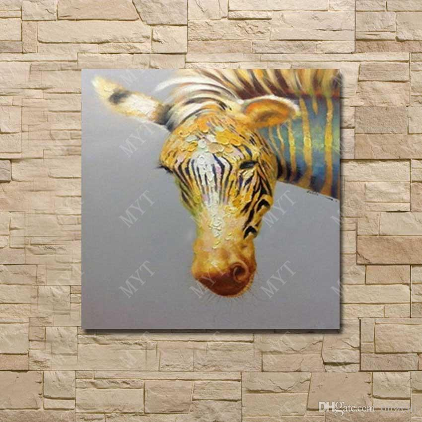 Handmade abstract oil painting yellow color top quality canvas art for modern living room decor zebra oil painting