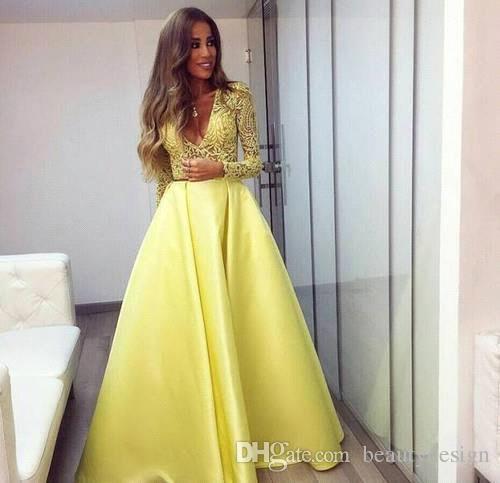 Elegante gelbe Dubai Abaya Langarm Abendkleider V-Ausschnitt Spitzenkleider Abendgarderobe Zuhair Murad Prom Partykleider