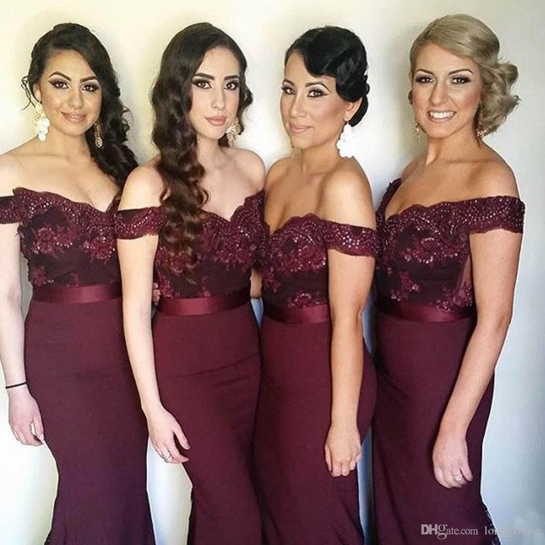 Sexy long burgundy bridesmaid dresses off the shoulder sequins sexy long burgundy bridesmaid dresses off the shoulder sequins lace mermaid country bridesmaids dress cheap wedding guest gowns bridesmaid dresses yellow ombrellifo Choice Image