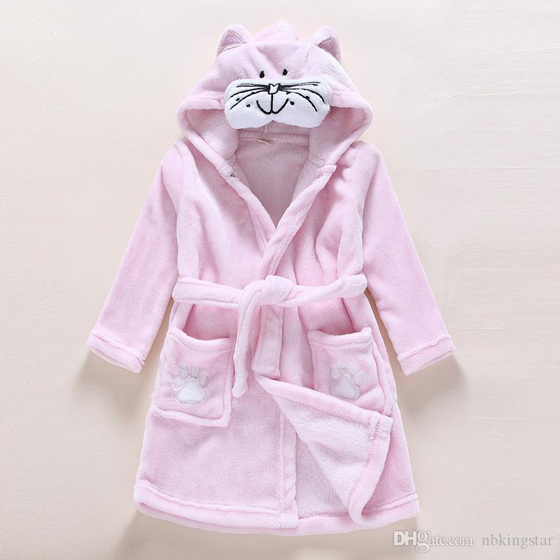 Kids Cute Animal Hoodie Fleece Robes 2017 Winter Children Cartoon Coral Bathrobe Unisex Pajamas Sleepwear Flannel Nightgown