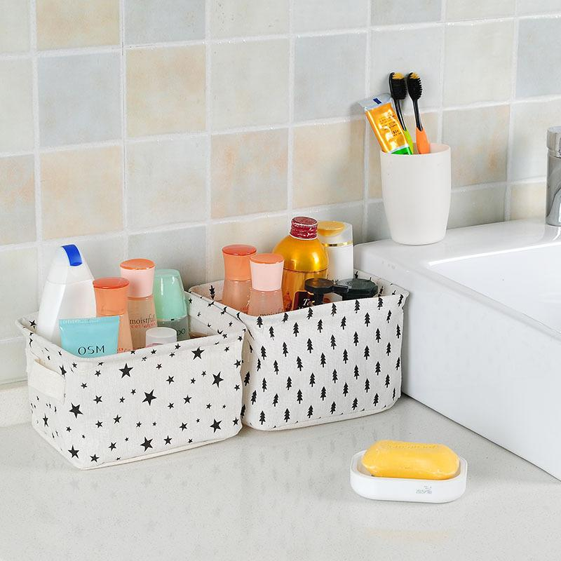 Cotton Linen Office Desk Organizer Basket Folding Storage Box Sundries Cosmetic Jewelry Stationery Remote Control Container Home Decor