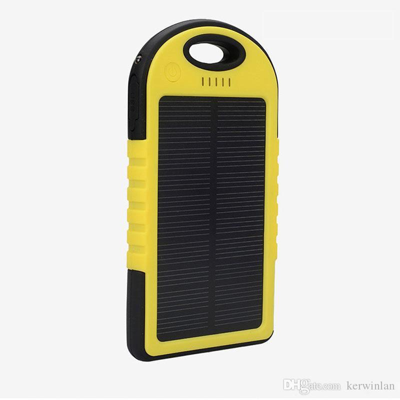 5000mAh شاحن للطاقة الشمسية والبطارية لوحة للطاقة الشمسية بنك الطاقة المحمولة للهاتف المحمول كاميرا MP4 مع مصباح يدوي مقاوم للماء للصدمات