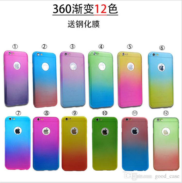 brand new a9314 26831 For iphone 7 case gradient rainbow colorful 360 Full Protect cases Tempered  Glass screen protector cover for iphone 5 5s se 6s 7 plus sale