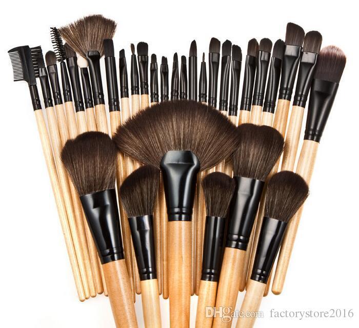 DHL 32 stücke Professionelle Make-Up Pinsel MC Marke Bilden Kosmetische Schönheit Pinsel Set Kit Tool + Roll Up PU Ledertasche