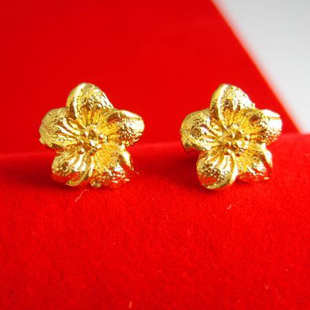 Non svanire come un oro puro 999 mila orecchini d'oro carattere femminile oro gioielli da sposa fiori orecchio