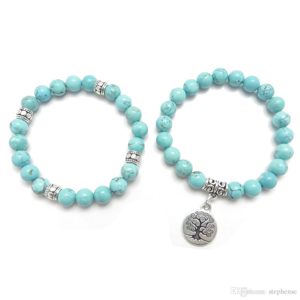 SN0643 Baum des Lebens Schmuck Yoga Mala Armband Türkis Heilschutz Elastische Perlen Stapeln Armband Spiritueller Schmuck
