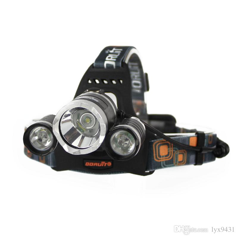 BORUIT 6000LM 3x Cree XM-L T6 White+2R5 Red LED 18650 Headlamp Headlight Head Torches USB Lamp Charge