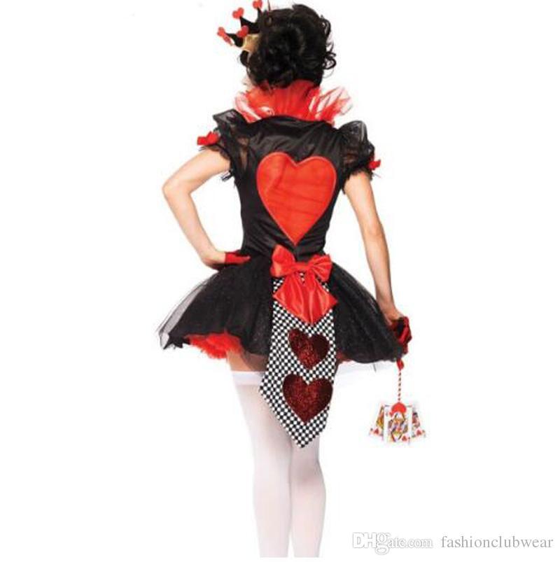 Rainha de Poker Fantasia de Corações Vermelhos Trajes Cosplay Trajes de Halloween Carnaval Partido Vestuário Mulheres Sexy Vestido de Tutu Mágico