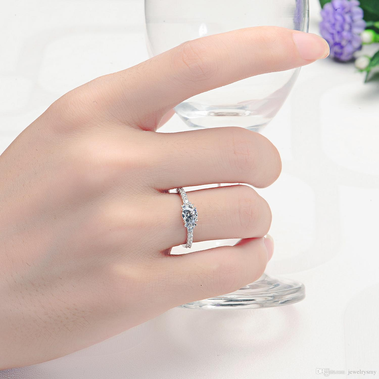 2017 new romantic style with diamond white zircon ring, exquisite fashion Sterling Silver Ring on behalf of delivery